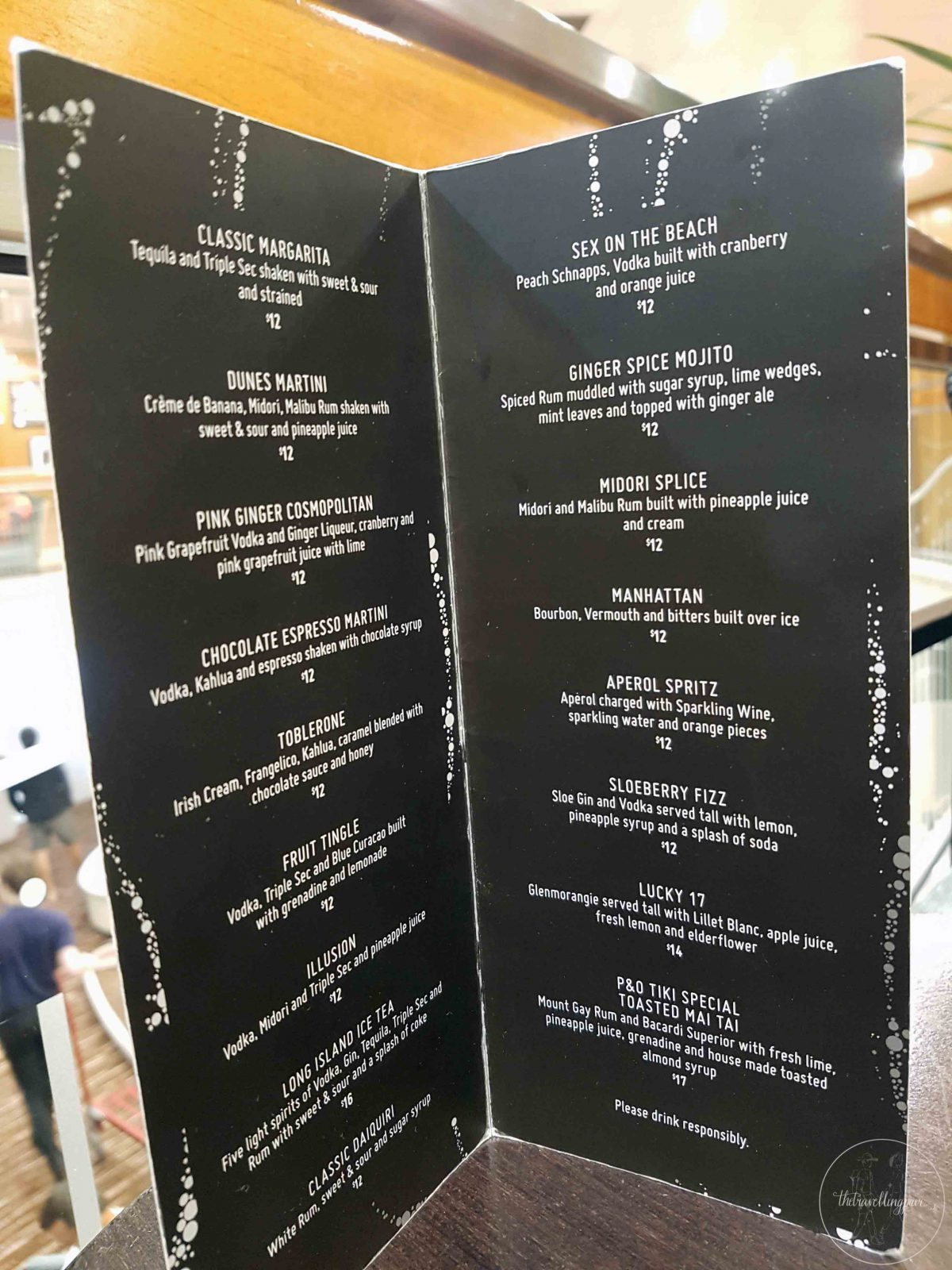 Bar Menu Pacific Jewel