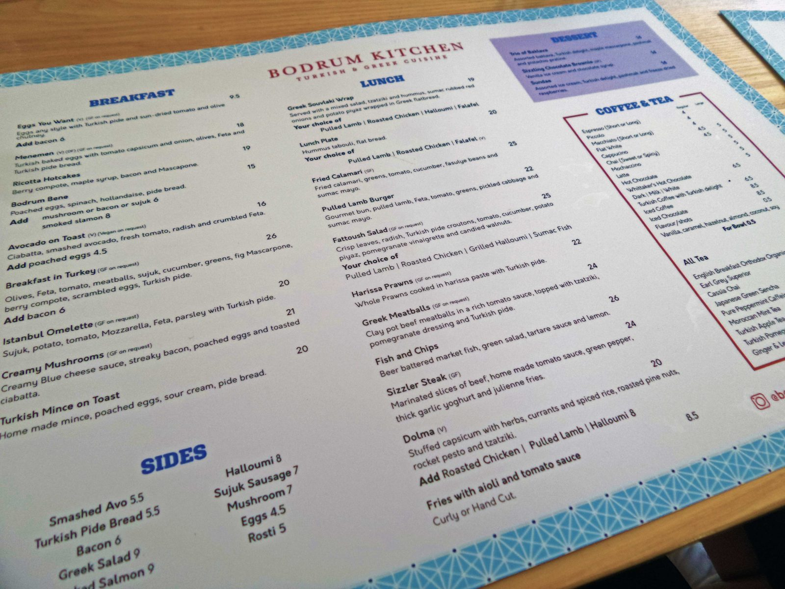 Bodrum Kitchen Menu